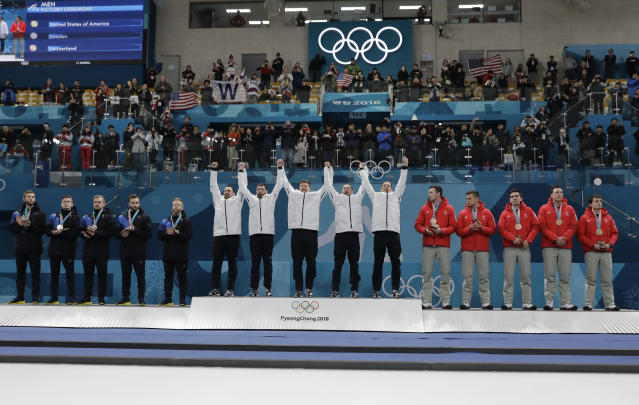 "Team USA's men's curling team followed in ""The Simpsons"" footsteps and won the gold medal. (AP Photo)"