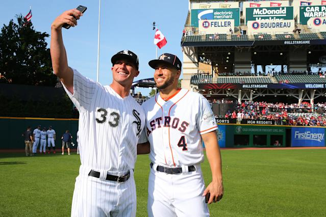 James McCann #33 of the Chicago White Sox takes a selfie with George Springer #4 of the Houston Astros prior to the 90th MLB All-Star Game at Progressive Field on Tuesday, July 9, 2019 in Cleveland, Ohio. (Photo by Eve Kilsheimer/MLB Photos via Getty Images)
