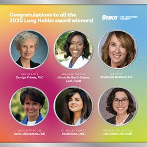 Named for the first American female to earn a dental  degree, the Lucy Hobbs Project, powered by Benco Dental, annually presents six awards to inspirational women in the profession. The 2020 honorees include: Rella Christensen, PhD, Industry Icon Award, Sarah Khan, DMD, Clinical Expert Award, Nicole McGrath-Barnes, DDS, FACD, Humanitarian Award, Carolyn Primus, PhD, Innovator Award,  Stephenie Goddard, MS, Mentor Award, and Lisa Simon, MD, DMD, Woman to Watch Award.