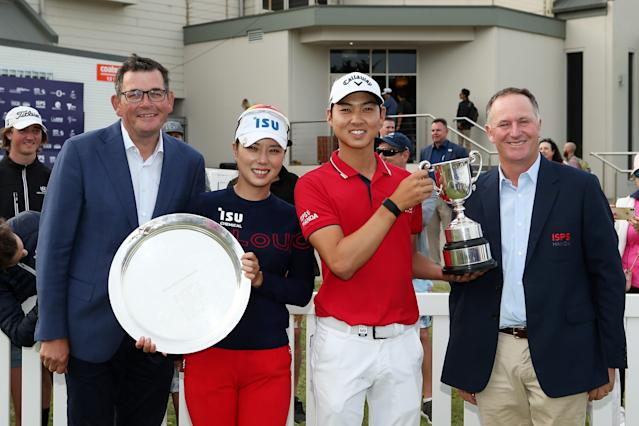 """<h1 class=""""title"""">ISPS Handa Vic Open - Day Four</h1> <div class=""""caption""""> GEELONG, AUSTRALIA - FEBRUARY 09: (L-R) Premier of Victoria Daniel Andrews, Hee-young Park of South Korea, Min Woo Lee of Australia and Former Prime Minister of New Zealand John Key pose for a photo on Day Four of the ISPS Handa Vic Open at 13th Beach Golf Club on February 09, 2020 in Geelong, Australia. (Photo by Jack Thomas/Getty Images) </div> <cite class=""""credit"""">Jack Thomas</cite>"""