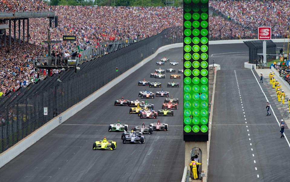 The field of drivers take the green flag to start the 103rd running of the Indianapolis 500 on May 26, 2019.