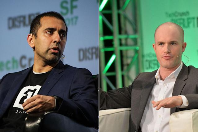 Earn.com CEO Balaji Srinivasan (L) at TechCrunch Disrupt in 2017, Coinbase CEO Brian Armstrong at TechCrunch Disrupt in 2014. Srinivasan becomes Coinbase CTO.