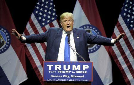 U.S. Republican presidential candidate Donald Trump speaks during a campaign rally at the downtown Midland Theater in Kansas City, Missouri, March 12, 2016. REUTERS/Dave Kaup