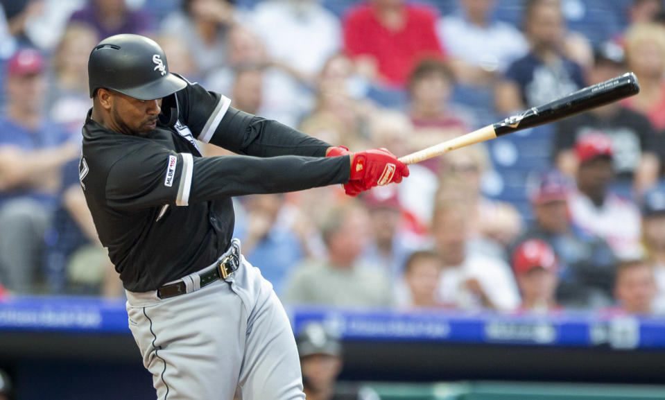 Chicago White Sox's Eloy Jimenez hits a single during the first inning of the team's baseball game against the Philadelphia Phillies, Friday, Aug. 2, 2019, in Philadelphia. (AP Photo/Laurence Kesterson)