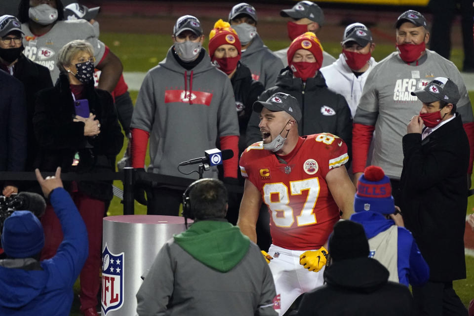 Kansas City Chiefs tight end Travis Kelce celebrates after the AFC championship NFL football game against the Buffalo Bills, Sunday, Jan. 24, 2021, in Kansas City, Mo. The Chiefs won 38-24. (AP Photo/Jeff Roberson)
