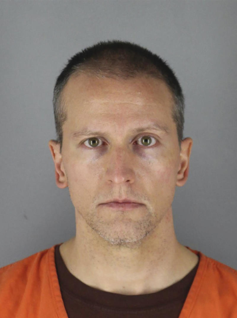 Pictured is a mugshot of former Minneapolis police officer Derek Chauvin.