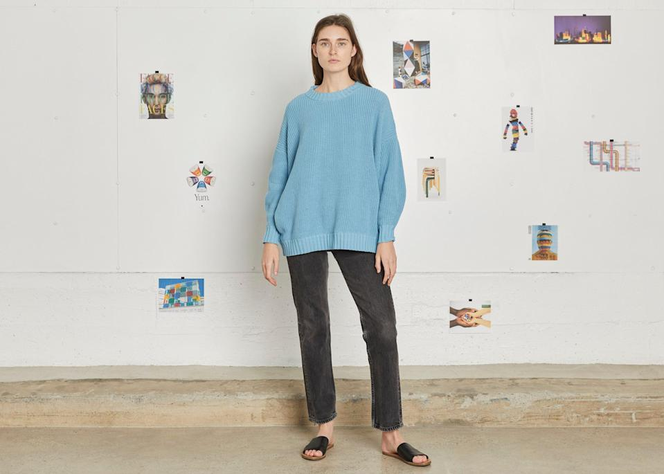 """<br><br><strong>Entireworld</strong> Oversized Fisherman's Sweater, $, available at <a href=""""https://go.skimresources.com/?id=30283X879131&url=https%3A%2F%2Ftheentireworld.com%2Fwomen%2Fproduct%2Fsweater-womens-type-a-version-11-sky-blue"""" rel=""""nofollow noopener"""" target=""""_blank"""" data-ylk=""""slk:Entireworld"""" class=""""link rapid-noclick-resp"""">Entireworld</a>"""