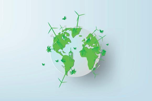 A globe with wind turbines sticking out of it.