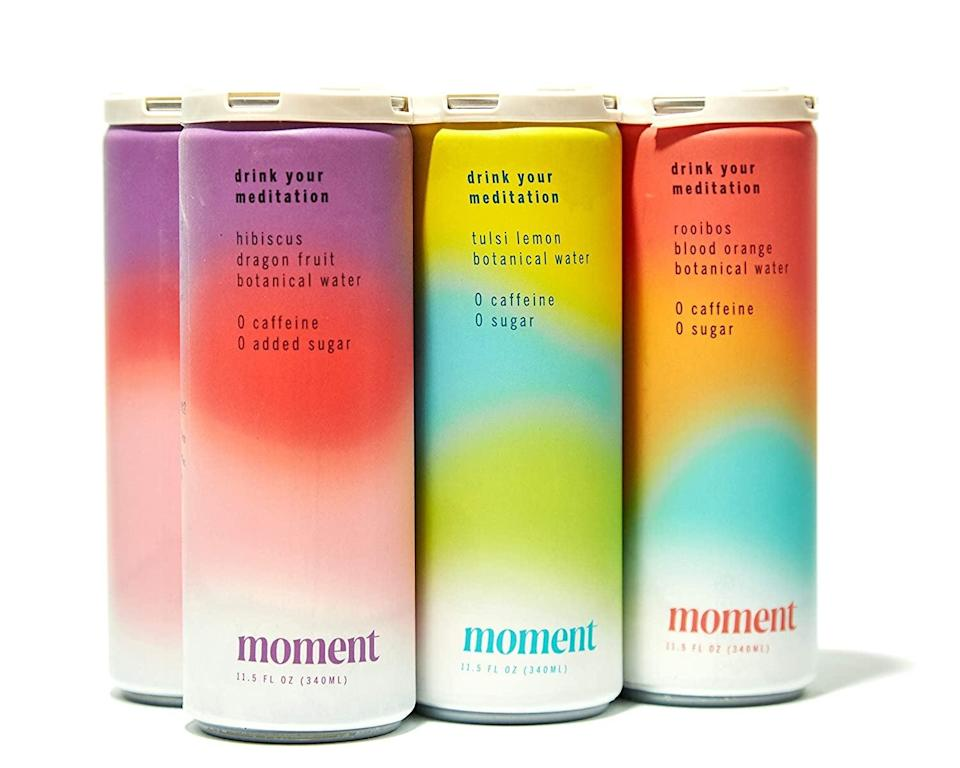 <p>Wind down with the caffeine-free <span>Moment Botanical Water</span> ($35 for 12). It's great for taking some time for yourself to destress containing L-theanine and ashwagandha. It comes in hibiscus dragon fruit, blood orange, and lemon. </p>