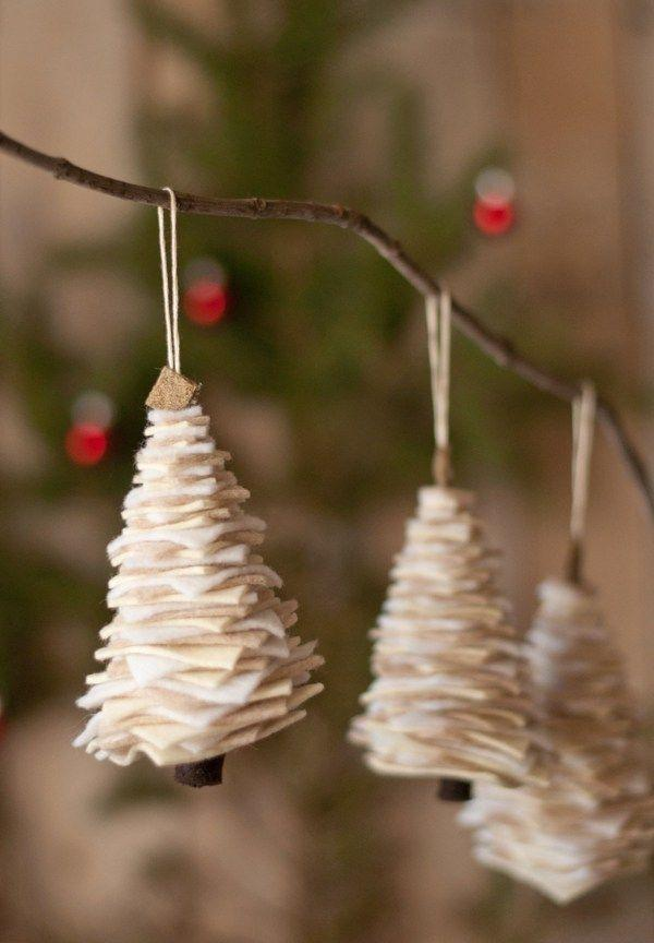"""<p>Making (and then hanging) these adorable felt trees is an easy craft for the whole family. </p><p><strong>Get the tutorial at <a href=""""http://www.thisheartofmineblog.com/2013/11/26/felt-christmas-tree-ornament/"""" rel=""""nofollow noopener"""" target=""""_blank"""" data-ylk=""""slk:This Heart of Mine"""" class=""""link rapid-noclick-resp"""">This Heart of Mine</a>. </strong></p><p><a class=""""link rapid-noclick-resp"""" href=""""https://www.amazon.com/Kunin-Rainbow-Classic-Felt-White/dp/B001IZLW8K/?tag=syn-yahoo-20&ascsubtag=%5Bartid%7C10050.g.1070%5Bsrc%7Cyahoo-us"""" rel=""""nofollow noopener"""" target=""""_blank"""" data-ylk=""""slk:SHOP WHITE FELT"""">SHOP WHITE FELT</a></p>"""