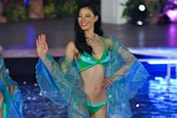 <p>Embellishments, particularly sequins and beaded details, were hot in 2013, as this pageant-show contestant illustrates.</p>