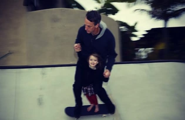 Tony Hawk and his 4-year-old daughter Kadence in Hawk's backyard — Instagram