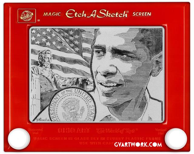"""<b>President Obama</b> <br> <p>Barack Obama's face is rendered accurately in this presidential portrait, but what's really impressive is the intricate detail on the flag and the pinpoint accuracy of the accompanying seal.</p>  <br> (Credit: <a href=""""http://www.gvartwork.com/"""">George Vlosich III</a>)"""