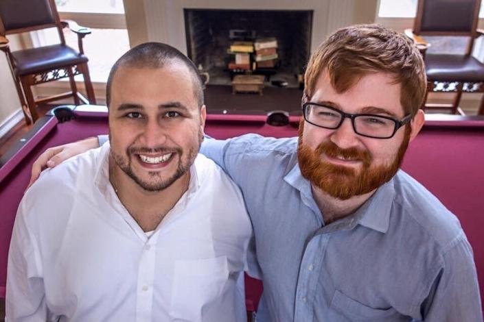 "Far-right politics brought George Zimmerman and Chuck Johnson together, as illustrated by this social media post of the two <a href=""http://littlegreenfootballs.com/article/45244_Grotesque_Photo_of_the_Day-_Chuck_C._Johnson_Hanging_With_George_Zimmerman"" rel=""nofollow noopener"" target=""_blank"" data-ylk=""slk:discovered by Little Green Footballs"" class=""link rapid-noclick-resp"">discovered by Little Green Footballs</a>, a blog that has been tracking Johnson for years. (Photo: )"