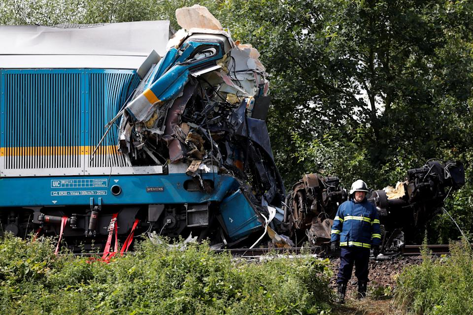 The train crashed near the town of Domazlice, Czech Republic (REUTERS)