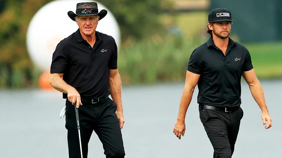 Greg Norman, pictured here with his son at the PNC Championship in December.