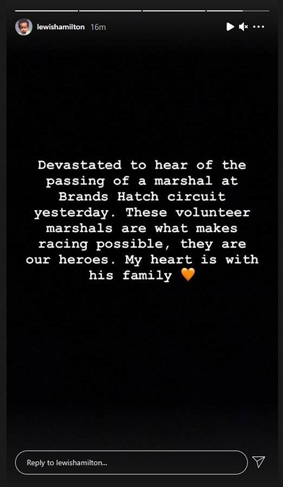 The message posted by Lewis Hamilton (Lewis Hamilton/PA) (PA Media)