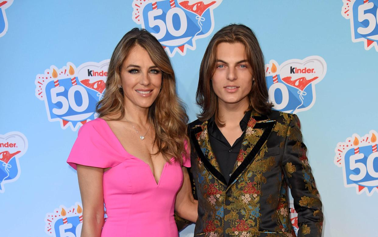 Elizabeth Hurley with son Damian Hurley, whose father was Steve Bing. (Photo: Getty Images)