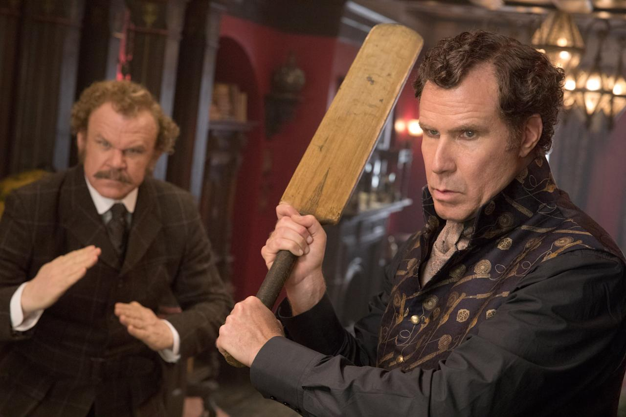 """<p>John C. Reilly and <a class=""""sugar-inline-link ga-track"""" title=""""Latest photos and news for Will Ferrell"""" href=""""https://www.popsugar.co.uk/Will-Ferrell"""" target=""""_blank"""" data-ga-category=""""internal click"""" data-ga-label=""""https://www.popsugar.co.uk/Will-Ferrell"""" data-ga-action=""""body text link"""">Will Ferrell</a> bring the funny as Dr. Watson and Detective Sherlock Holmes, respectively, in <strong>Holmes &amp; Watson</strong>. The duo investigates a seemingly open-and-shut murder mystery at Buckingham Palace that quickly goes awry as they attempt to catch the killer before the queen becomes the next victim.</p> <p><strong>Holmes &amp; Watson</strong> is <product href=""""https://www.hulu.com/watch/b444ca67-1c3f-4886-a79a-f0a8055eb292"""" target=""""_blank"""" class=""""ga-track"""" data-ga-category=""""internal click"""" data-ga-label=""""https://www.hulu.com/watch/b444ca67-1c3f-4886-a79a-f0a8055eb292"""" data-ga-action=""""body text link"""">available to stream on Hulu</product>.</p>"""