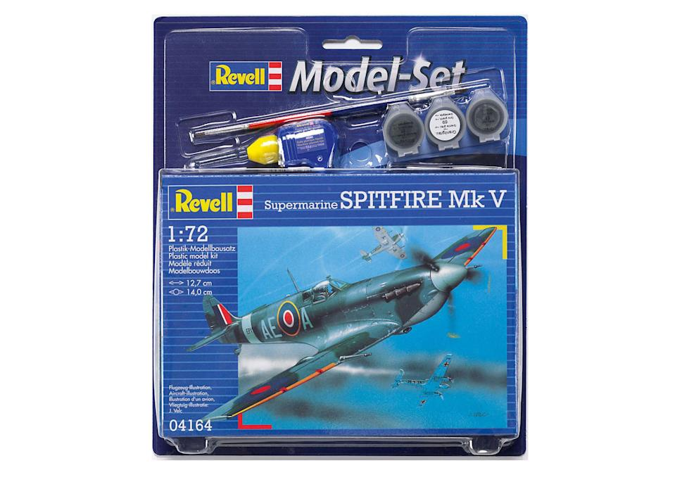 """If your dad is a child at heart, then look no further than the Spitfire starter set this Father's Day. It's the perfect way for you and him to spend quality time together on a rainy Sunday afternoon... <a href=""""https://go.skimresources.com?id=134214X1597530&xs=1&url=https%3A%2F%2Fwww.hobbycraft.co.uk%2Frevell-64164-spitfire-mkvb-starter-set%2F571511-1000"""" rel=""""nofollow noopener"""" target=""""_blank"""" data-ylk=""""slk:Buy now"""" class=""""link rapid-noclick-resp""""><em>Buy now</em></a>."""