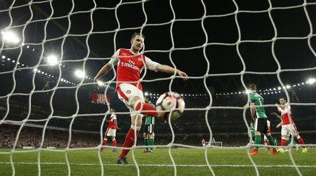 Arsenal's Aaron Ramsey scores their fifth goal
