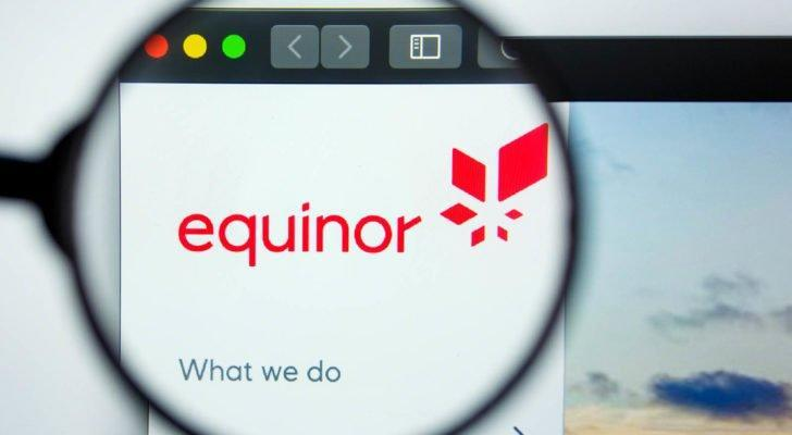 Illustrative editorial of EQUINOR (EQNR) website homepage, with EQUINOR logo visible on display screen. I
