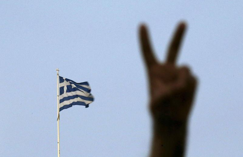 No supporter flashes victory sign in Athens