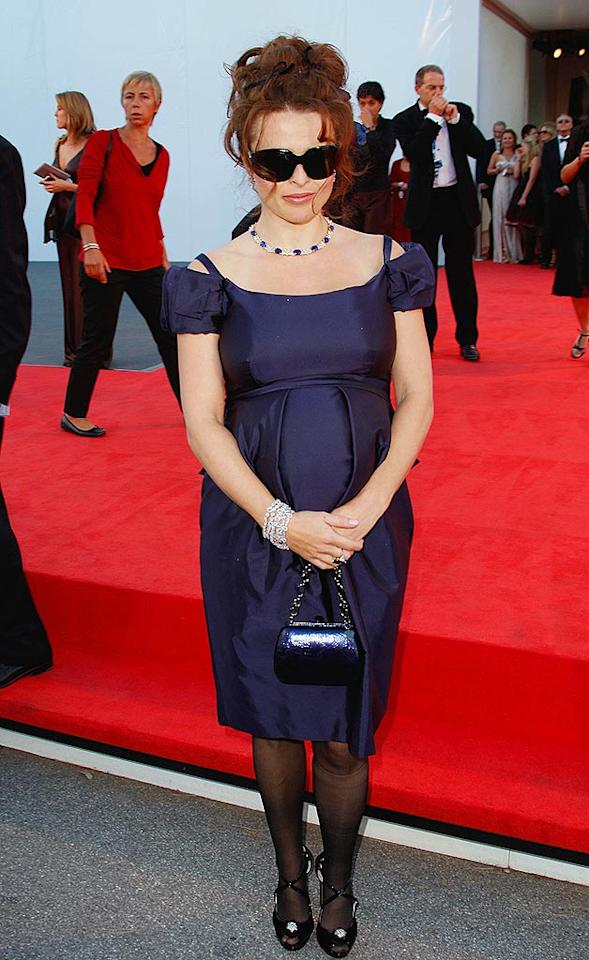 "Helena Bonham Carter proves one an expectant mother can still look prim and proper. Jeff Vespa/<a href=""http://www.wireimage.com"" target=""new"">WireImage.com</a> - September 5, 2007"