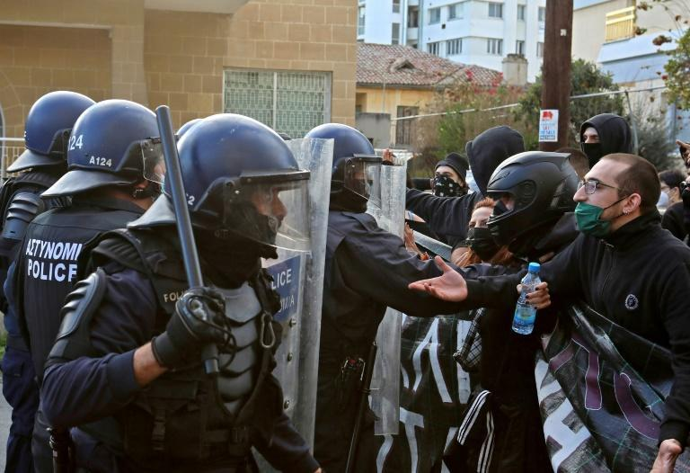 Cypriot police said they had arrested eight people during the protest