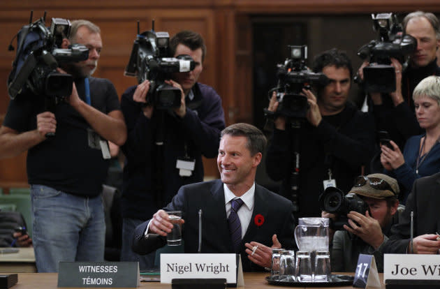 Nigel Wright, former chief of staff to prime minister Stephen Harper is shown at the Commons ethics committee on Parliament Hill on Nov. 2, 2010.