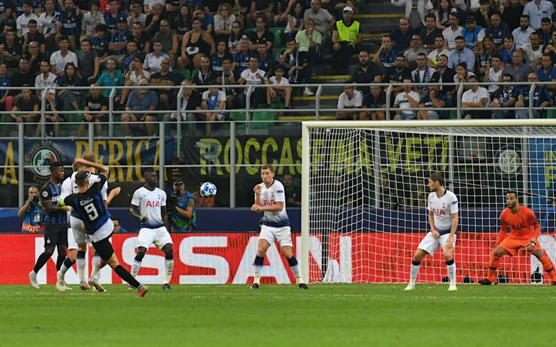 Mauro Icardi's superb volley drags Inter level on the way to their stunning comeback against Spurs at the San Siro - AFP