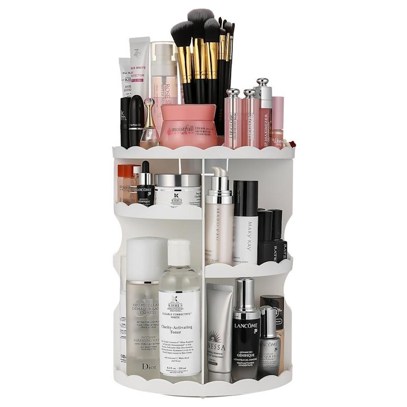 Makeup Organizer, LIFU 360 Degree Rotating and Adjustable Multi-Function Cosmetic Storage Box