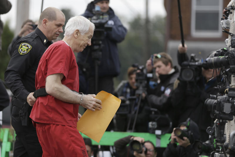 Former Penn State University assistant football coach Jerry Sandusky arrives at the Centre County Courthouse for a sentencing hearing Tuesday, Oct. 9, 2012, in Bellefonte, Pa. Sandusky was convicted of sexually abusing 10 boys in a scandal that rocked the university and brought down Hall of Fame coach Joe Paterno. (AP Photo/Matt Rourke)