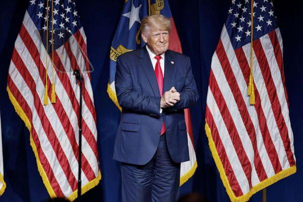 PHOTO: Former President Donald Trump stands on stage during an appearance at the North Carolina GOP convention dinner in Greenville, N.C., June 5, 2021. (Jonathan Drake/Reuters)