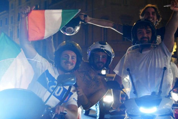 Italy fans celebrated long into the night - in London and in Rome (AFP via Getty Images)