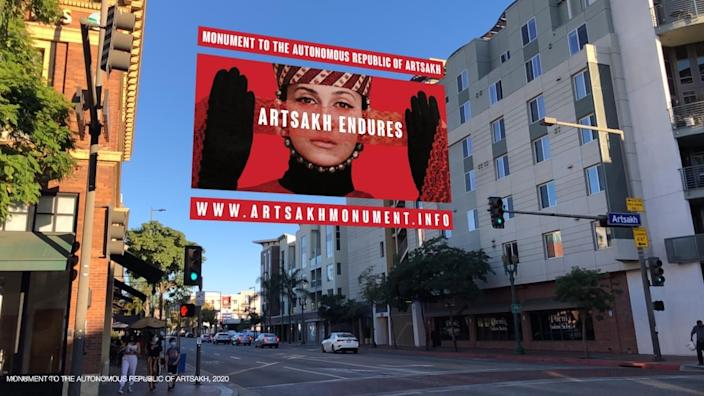 "A graphic of a woman's face veiled in red lace and the phrase ""ARTSAKH ENDURES"" appear to hover in a Glendale intersection."
