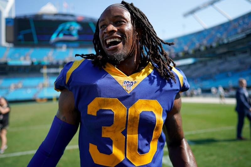 CHARLOTTE, NORTH CAROLINA - SEPTEMBER 08: Todd Gurley #30 of the Los Angeles Rams walks off the field after their game against the Carolina Panthers at Bank of America Stadium on September 08, 2019 in Charlotte, North Carolina. (Photo by Jacob Kupferman/Getty Images)