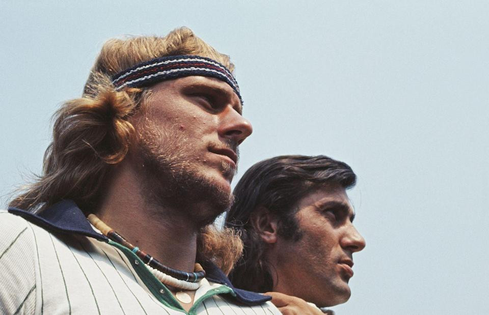 <p>Bjorn Borg and Ilie Nastase during the Men's Singles Final match in July 1976.</p>