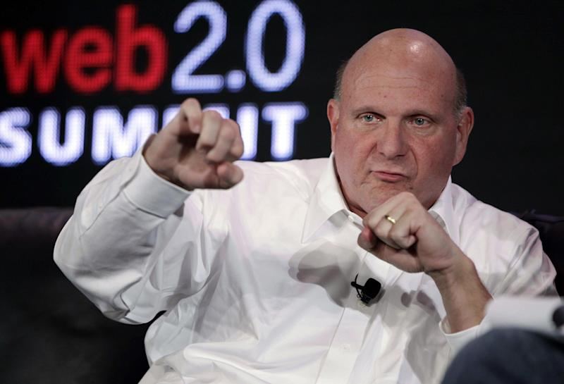 "In this Oct. 18, 2011, file photo, then-Microsoft CEO Steve Ballmer speaks at the Web. 2.0 Summit in San Francisco. Shortly before the start of a trial to determine whether Los Angeles Clippers owner Donald Sterling's estranged wife can sell the team, his lawyers filed a motion Thursday, July 3, 2014, to move the case to federal court, alleging his medical privacy has been violated. Shelly Sterling's attorney, Pierced O'Donnell, called the move a ""cowardly ploy"" and Ballmer's attorney, Adam Streisand,  called the move ""desperate"" and said his side would seek to block it"