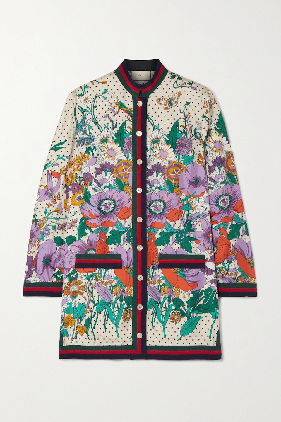 """<p><strong>Gucci</strong></p><p>net-a-porter.com</p><p><strong>$2600.00</strong></p><p><a href=""""https://go.redirectingat.com?id=74968X1596630&url=https%3A%2F%2Fwww.net-a-porter.com%2Fen-us%2Fshop%2Fproduct%2Fgucci%2Fgrosgrain-trimmed-printed-silk-twill-shirt%2F1062043&sref=https%3A%2F%2Fwww.marieclaire.com%2Ffashion%2Fg33324123%2Fsilk-printed-shirts%2F"""" rel=""""nofollow noopener"""" target=""""_blank"""" data-ylk=""""slk:Shop It"""" class=""""link rapid-noclick-resp"""">Shop It</a></p><p>This statement silk top showcases Gucci's iconic floral prints and heritage stripes. Consider this an investment piece that can be worn buttoned up as a shirt or worn open, over a T-shirt, like a jacket. </p>"""