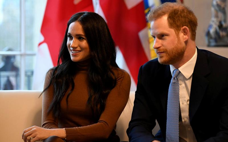 The Duke and Duchess of Sussex on their last public engagement in the UK, visiting Canada House on Jan 7 - REUTERS