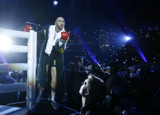 Boxing - Wladimir Klitschko v Tyson Fury WBA, IBF & WBO Heavyweight Title's - Esprit Arena, Dusseldorf, Germany - 28/11/15 Tyson Fury gestures to fans as he enters the ring before the start of the fight Action Images via Reuters / Lee Smith Livepic