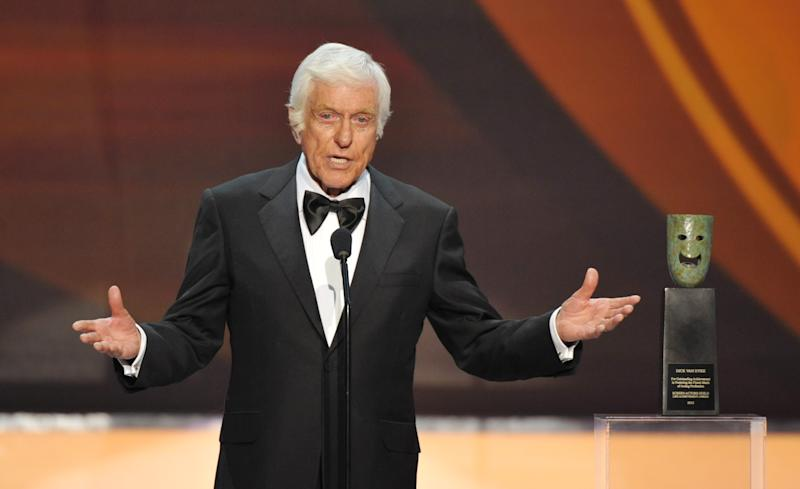 "FILE - This Jan. 27, 2013 file photo shows Dick Van Dyke on stage at the 19th Annual Screen Actors Guild Awards at the Shrine Auditorium in Los Angeles. Van Dyke is undergoing tests for ""cranial throbbing"" that's causing him to lose sleep. Spokesman Bob Palmer said Thursday the 87-year-old Van Dyke has been experiencing a throbbing sensation in his head when lying down. Scans and other tests have yet to yield a diagnosis, Palmer said. (Photo by John Shearer/Invision/AP, file)"