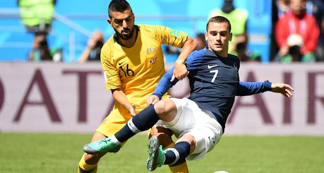 <p>There was no way through in the first half for France star Antoine Griezmann (AP) </p>