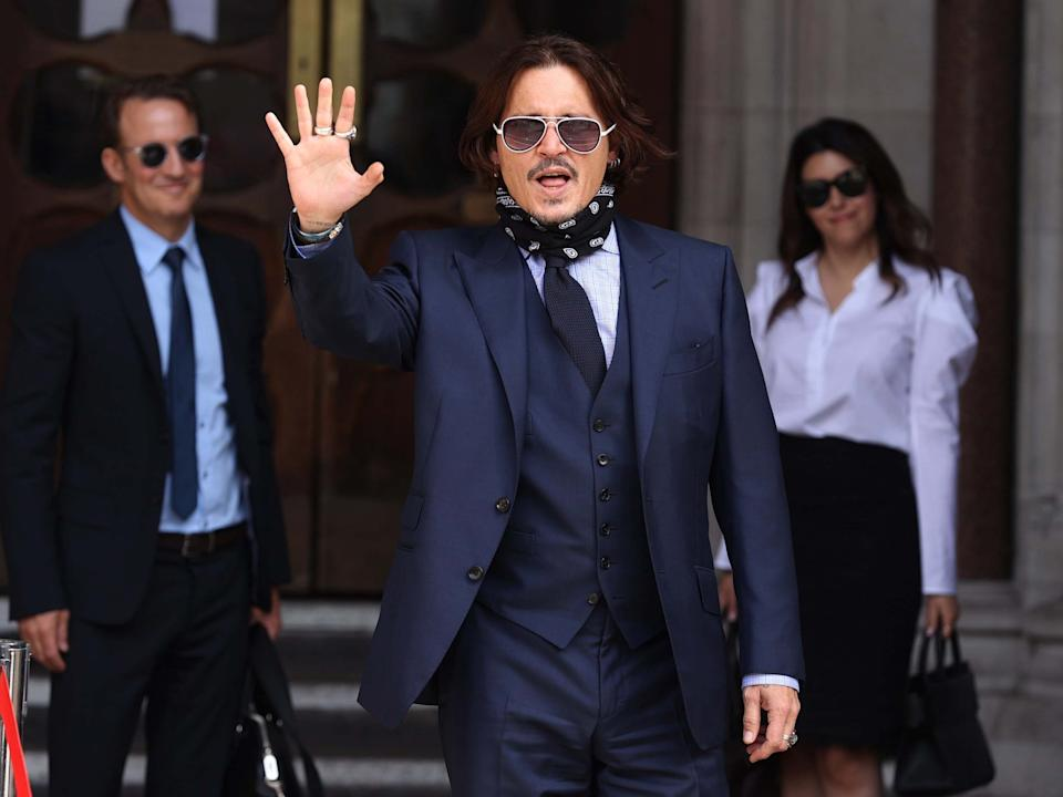 Actor Johnny Depp arrives at the High Court in London to give evidence in his libel case against the publishers of The Sun and its executive editor, Dan Wootton, 14 July 2020: Yui Mok/PA
