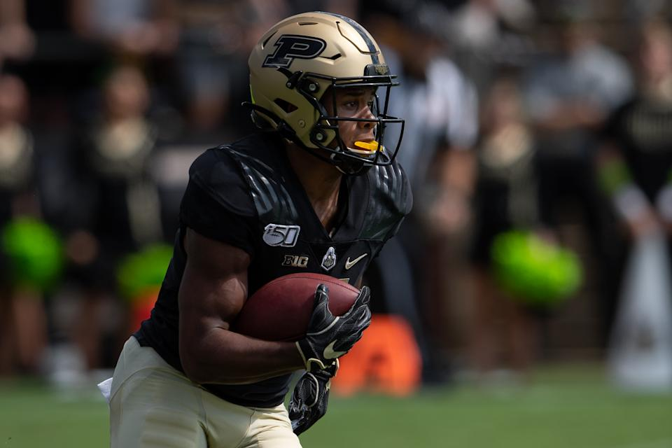 WEST LAFAYETTE, IN - SEPTEMBER 07: Purdue Boilermakers wide receiver Rondale Moore (4) returns a punt during the college football game between the Purdue Boilermakers and Vanderbilt Commodores on September 7, 2019, at Ross-Ade Stadium in West Lafayette, IN. (Photo by Zach Bolinger/Icon Sportswire via Getty Images)