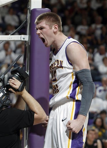Northern Iowa forward Seth Tuttle reacts after he was fouled during the first half of an NCAA college basketball game against Wichita State, Saturday, Feb. 2, 2013, in Cedar Falls, Iowa. (AP Photo/Matthew Putney)