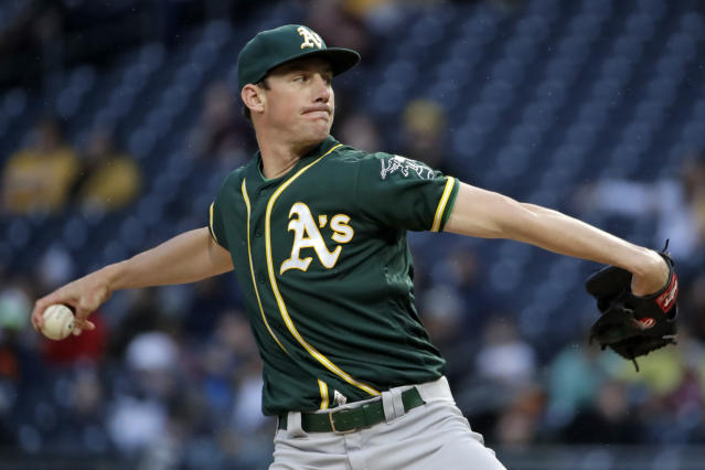Oakland Athletics starting pitcher Chris Bassitt delivers during the first inning of the team's baseball game against the Pittsburgh Pirates in Pittsburgh, Saturday, May 4, 2019. (AP Photo/Gene J. Puskar)
