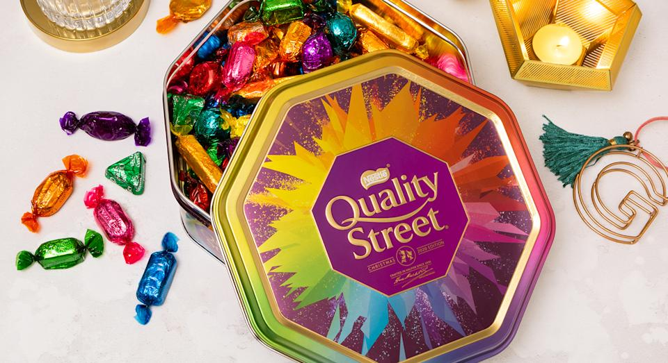 The Quality Street tin has been given an update this year, which is exclusive to John Lewis & Partners. (John Lewis & Partners)