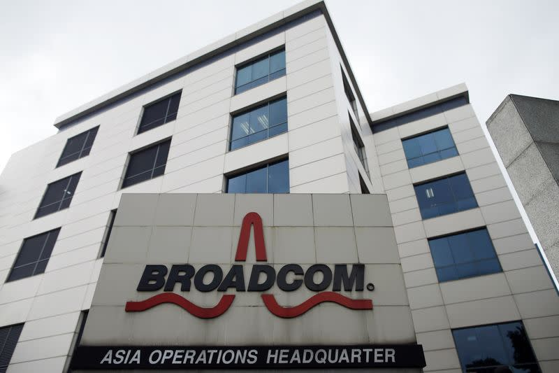 Broadcom's Asia operations headquarters office is seen at an industrial park in Singapore